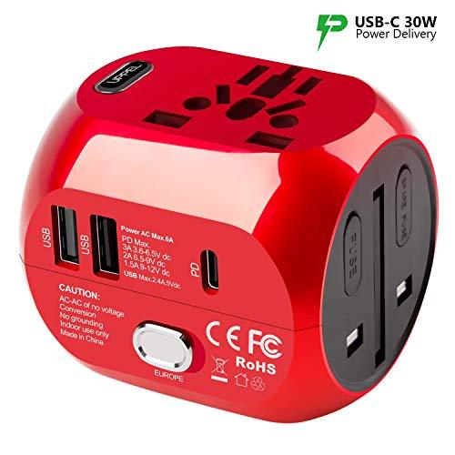 UPPEL Universal Reiseadapter Weltadapter Stecker Adapter mit 2 USB- und PD Typ-C-Anschlüssen Quick Charge, Doppelter Sicherheit für Steckdosenadapter EU/AU/Asien/USA/UK mehr als 150 Länder-(Rot)