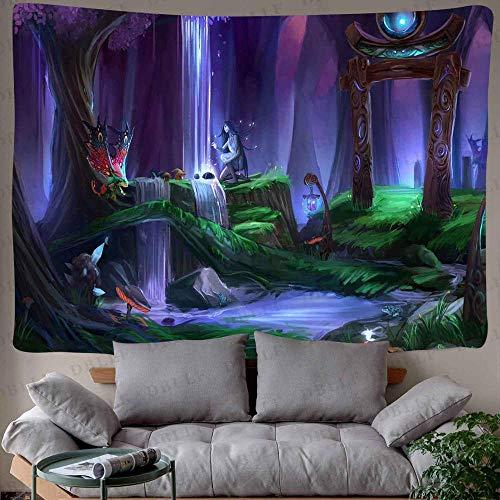 WERT Tapiz de Bosque de Cuento de Hadas tapices de Arte de montaña psicodélico para Colgar en la Pared para Sala de Estar decoración del Dormitorio del hogar A3 200x180cm