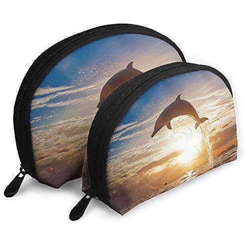 Delfines Saltando del mar al Atardecer Bolsas portátiles Bolsa de Maquillaje Bolsa de Aseo Bolsas de Viaje portátiles multifunción Bolsa de Embrague de Maquillaje pequeña