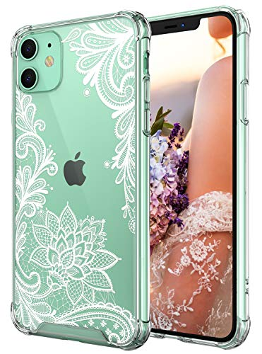 Cutebe Case for iPhone 11, Shockproof Series Hard PC+ TPU Bumper Protective Case for Apple iPhone 11 6.1 Inch Crystal Lace Design(White)