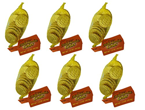 Palmer Premium Milk Chocolate Large Gold Coins (1.5 oz bags) Pack of 6 Bags