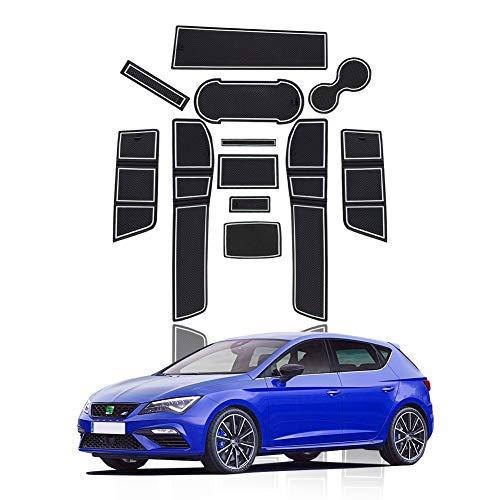 YEE PIN Gummimatten SEAT Leon Cupra 5F Zubehör Interieur rutschfeste Matten für Mittelkonsole Aufbewahrungsbox Autoteile Innenausstattung (Weiß)