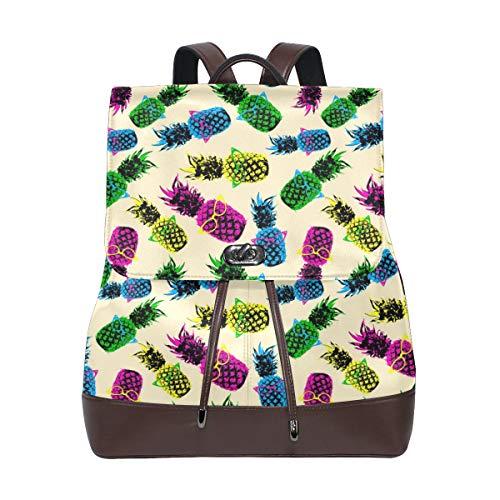 Ahomy Damen Rucksack aus Leder mit Aquarell-Ananas-Brille, wasserdicht, Diebstahlschutz, modischer Schulrucksack, lässige Tagesrucksäcke