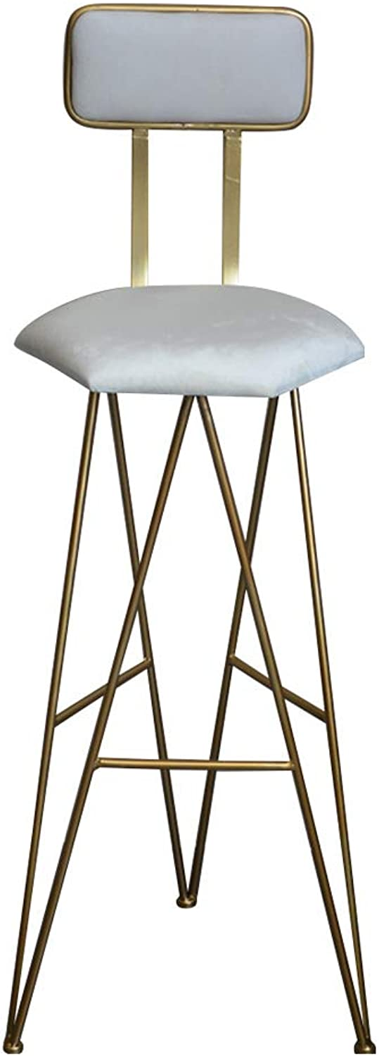 Modern Barstools Chair with Back and Footrest for Kitchen Pub Bar High Stools Bistro Counter Height Side Dining Chair Velvet Seat and gold Metal Legs, White