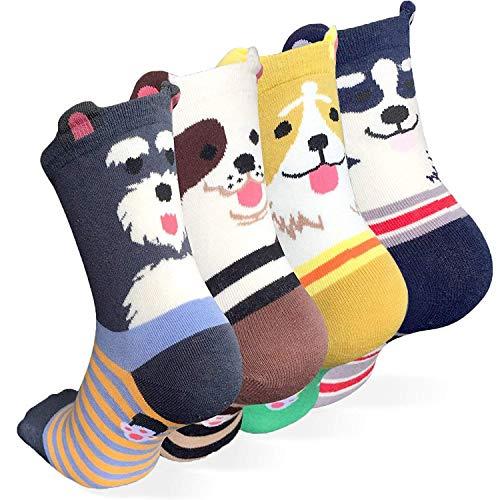 Happytree, Damen-Crew-Socken 3–6 Stück, lustige, coole Katzen- und Hundemotive im Cartoon-Design, gute Geschenkidee, Einheitsgröße (Dog Ringle 4)