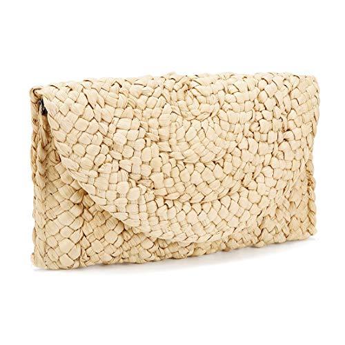 iPobie Stroh clutch portemonnee, dames stro-handtas envelop tas portefeuille zomer strandtas