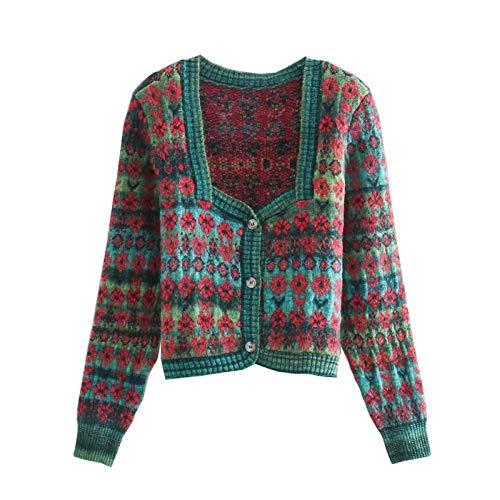 Moda para Mujer Jacquard Cárdigan De Punto Corto Suéter Chaqueta con Botones De Cuello Cuadrado Retro Chaqueta Elegante Top