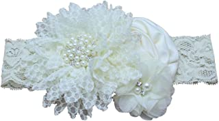 Luxury Pearl Lace Headband Stretchy Rose Hair Band Comfortable Hair Accessory(Beige)