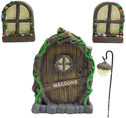Decoración De Árbol De Cuento De Hadas En Miniatura,Puertas Y Ventanas Familiares De Elfos De Hadas,Esculturas Artísticas Que Brillan En El Patio Oscuro,Accesorios De Decoración De Árboles De Jardín
