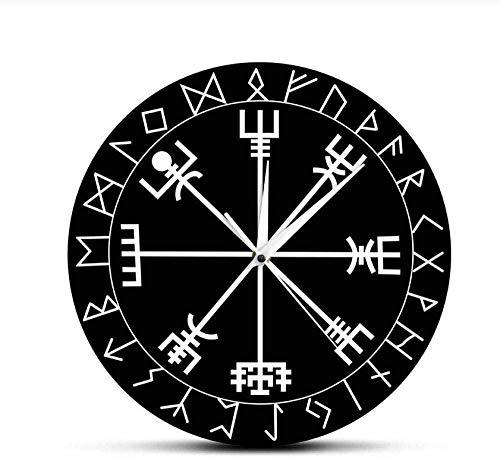ZAWAGU Wanduhr Dekor Kunst Geschenk Vinyl Home 3D DIY nordischen Runen Kompass Einzigartige Qu ymbol Runen Acryl Uhr für ihn Kompass