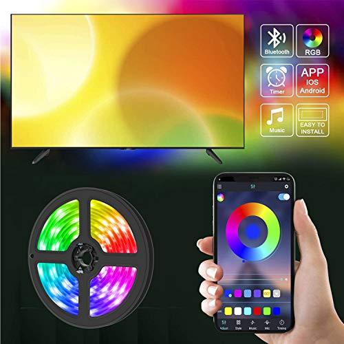 Tiras LED TV 2.5Mpara Android e iOS, IP65 Impermeable Tira LED USB con Control APP, para TV de 40 a-65 pulgadas para Habitacion, Hogar, Cocina, Porche, Bar, Fiesta, Boda y Restaurante