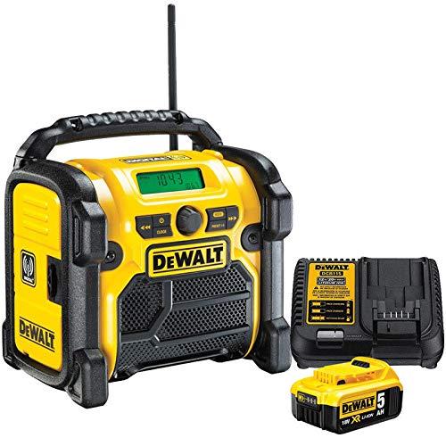 DeWALT DCR020 240V DAB FM Jobsite Digital Radio with 1 x 5.0Ah DCB184 & DCB115