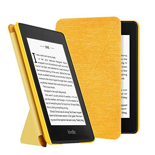 OLAIKE Custodia pieghevole in tessuto per Kindle Paperwhite(10ª generazione - modello 2018), copertura del supporto a mani libere leggera con Sonno/Sveglia la Funzione,Giallo
