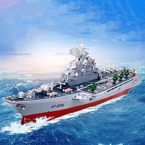 JZH-Light Ferngesteuertes Boot Fernbedienung Kriegsschiff Modell Super Large Flugzeugträger Warship Vier-Kanal-Fernbedienung Realistische Militärboot Wasserfahrzeug Schiffsmodell