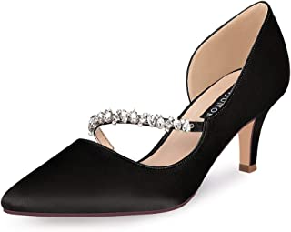 ERIJUNOR Women Mid Kitten Heels Closed Pointy Toe D'Orsay Pumps Wedding Party Shoes