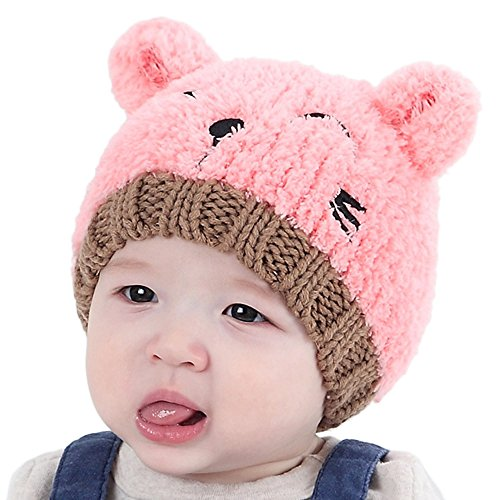 iLOOSKR Baby Toddler Kids Boy Girl Warm Fleece Thicken Knitted Caps Cat Print Lovely Spire Soft Hat Pink