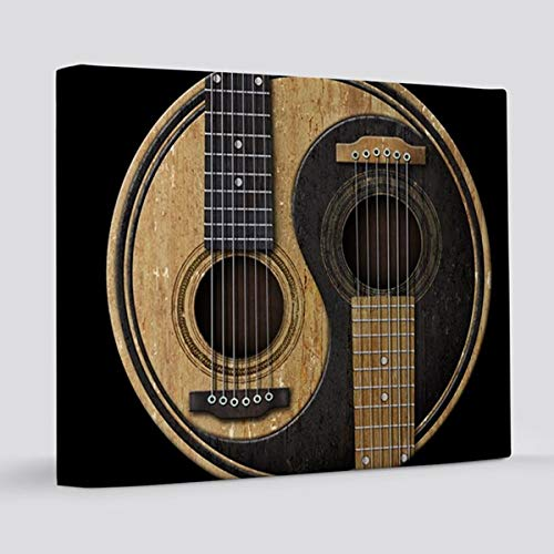 Tamengi Old and Worn Acoustic Gitars Yin Yang Canvas Print for Home Decoration Wooden Framed (8 X 8 Inch, Framed) 8 x 10 inches