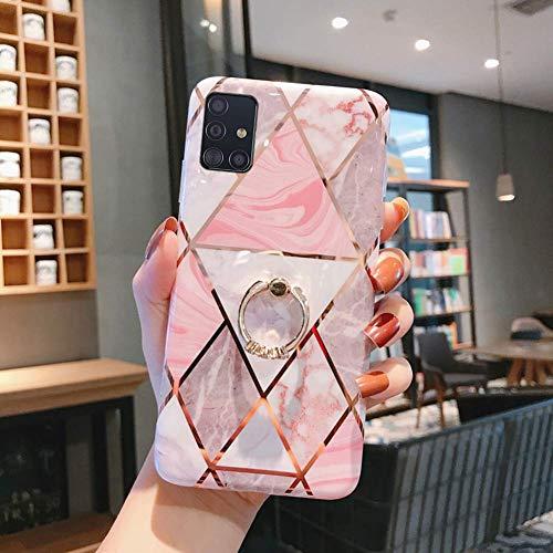 Uposao Compatible con Funda Samsung Galaxy A71 Purpurina Funda Girly Case 3D Geométrico Mármol Diseño + Anillo Soporte Móvil Diamante Glitter Brillante Carcasa Slim Silicona TPU Gel Suave Bumper,#4
