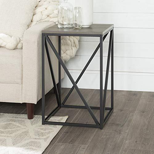 "WE Furniture 16"" Modern Geometric Square Side Table-Slate Grey Mesa Auxiliar, Gris, Talla única"