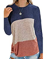 CHYRII Womens Casual Color Block Long Sleeve Twist Knot Knit Shirt Blouses Tops Pullover Sweater Navy+Coffee+Brown L