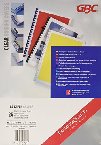 Portadas de encuadernar GBC HiClear A4 PVC 180 micras transparentes