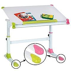 CARO meubels kinderbureau studentenbureau Helena in hoogte verstelbaar en kantelbaar in wit met verwisselbare petten in groen en roze roze voor jongens en meisjes*