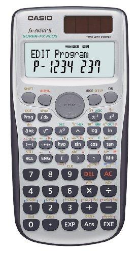 Casio FX-3650P II programmierbarer Rechner mit 279 Funktionen, 2-Zeilen-Display, Batterie/Solarzelle