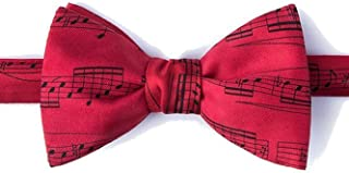 Men's 100% Silk Red Sheet Music Notes Musician Butterfly Self Tie Bow Tie