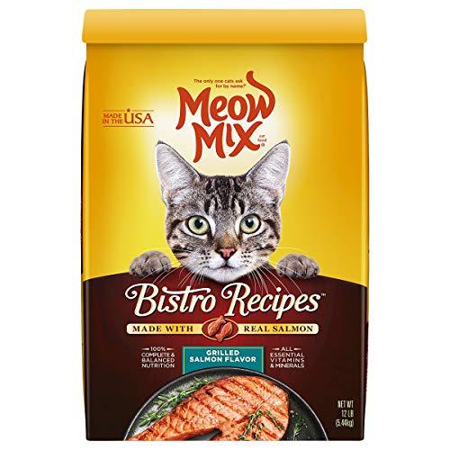 Meow Mix Bistro Recipes Dry Cat Food, Grilled Salmon Flavor, 12 Pound Bag