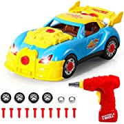 SGILE Construction Toys - 31 Pcs Take Apart Racing Car with Sound & Light, Gift for 3 Years Old Kids