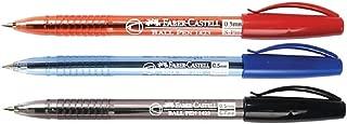 New Faber Castell Ball Pen 1423 S Fine BLUE / BLACK / RED Ink 0.5 mm.12 Pens