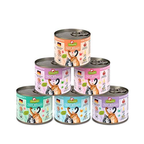 GranataPet Delicatessen Multipack, Nassfutter für Katzen im Probierpaket, Alleinfuttermittel ohne Getreide, Katzenfutter mit hohem Fleischanteil & hochwertigen Ölen, 6 x 200 g