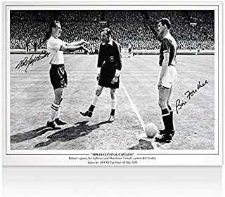 Nat Lofthouse & Bill Foulkes Signed Photo - 1958 FA Cup Final Captains - Autographed Soccer Photos