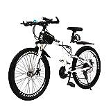 YXWJ MTB for Hombres Mujeres Bicicleta Carretera (24 velocidad, velocidad 27, 30 velocidad) Bicicletas de doble freno de disco de bicicletas plegables bastidor de suspensión y la suspensión de doble T