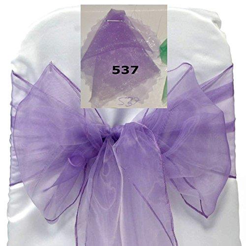 MDS 100 PCS Lavender Organza Chair Sashes / Bows sash for Wedding or Events Banquet Decor Chair Bow sash