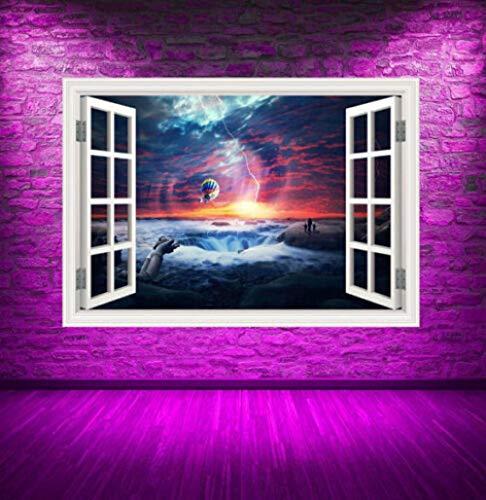 MXLYR Pegatinas de pared A todo color Sunset Sea Window Wall Art Sticker Función Home Lounge