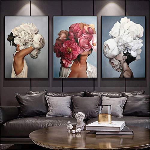 EDGIFT2 Cartel de Lienzo Abstracto Moderno Flores Mujer Arte de la Pared Pintura Carteles e Impresiones de Plumas Cuadros de Pared para la decoración de la Sala de Estar 50x70cmx3 (sin Marco)