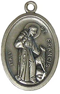 Religious Gifts Saint St Francis of Assisi 1 Inch H Silver Tone Pet Medal