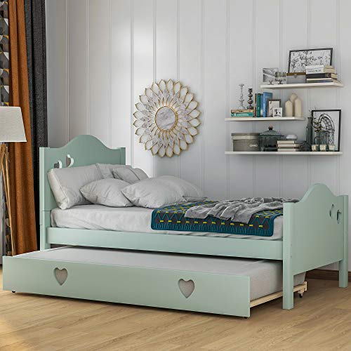 Twin Size Daybed with Trundle, WeYoung Solid Wood Twin Bed for Kids/Loving Shape Standard Twin Bed...