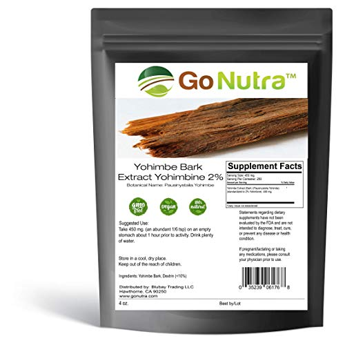 Yohimbe Bark Extract Powder 2% Strength Yohimbine (4oz / 114gr) Concentrated Extract