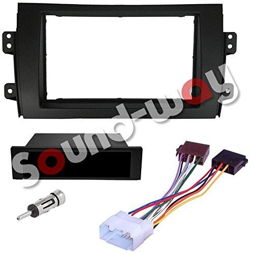 Sound-way 1 DIN / 2 DIN Radiopaneel Frame Autoradio, Antenne Adapter, ISO Aansluitkabel, ondersteuning voor Fiat Sedici 16, Suzuki SX4