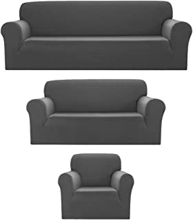 Best Sapphire Home 3pc SlipCover Set for Sofa Loveseat Couch, Form fit Stretch & Wrinkle Free, Furniture Protector Cover, Premium Fabric, Polyester Spandex, Slipcover Diamond 3pc, Light Gray Review