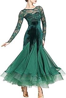 GXFXLP Ballsaal-Tanz-Kleid Samt Flamenco Für Damen Rundhals Elegante Spitze Walzer Dancewear Tango Kostüm Für Erwachsene Big Swing Elegante Schnüren Kleider