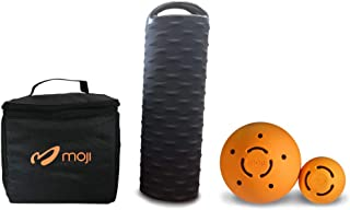 Moji Heated Foam Roller, 2 Massage Ball, and Thermal Bag Bundle – Loosens Tight Muscles – Perfect for Yoga and Runners – Bag Keeps Roller Hot for 90 Minutes – Microwavable