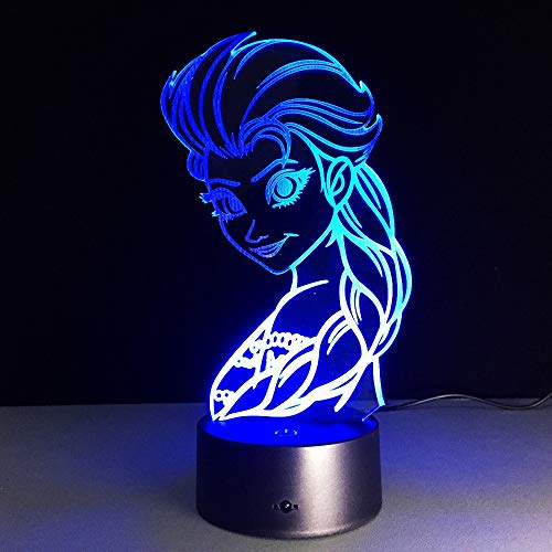 Schöne Eiskönigin Nachtlicht 3D LED USB Tischlampe Kinder Geburtstagsgeschenk Nachtzimmer Dekoration