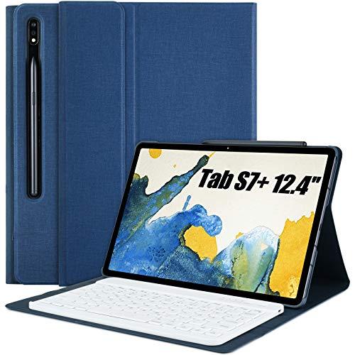 Tastatur Hülle für Samsung Galaxy Tab S7+, Abnehmbare Bluetooth QWERTZ Tastatur mit Schützhülle für Samsung Tablet S7 Plus 2020 12,4 Zoll 2020 (SM-T970/T975/T976)(Blue)
