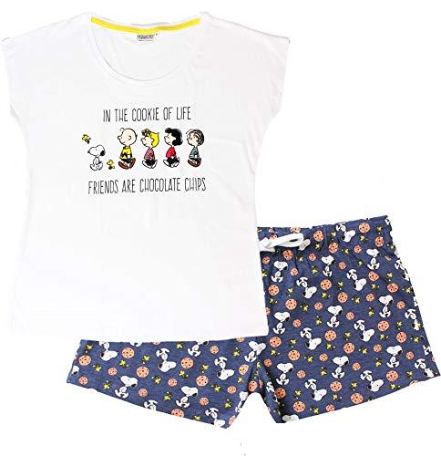 Snoopy Damen Pyjama-Set, kurzärmelig Gr. Large, blau