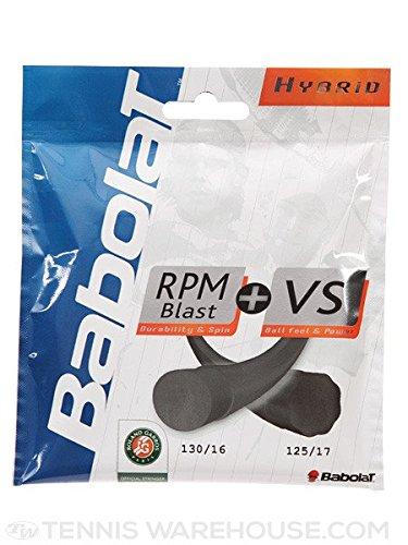 Babolat Hybrid Combo Pack - (1) Half Set RPM Blast 17 Gauge and (1) Half Set VS Gut 16 Gauge Tennis String 4-Pack (4 Sets Per Order) - Best Hybrid for Spin, Playability, and Durability (2-4-6-8-Packs)