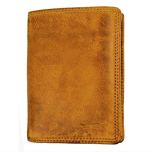 VEN-TOMY • Herren Geldbörse aus hochwertigem Waschleder W904 (Senf)