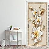 LBMT - Pegatina 3D para puerta, diseño creativo de mural, imitación de flores, arte para dormitorio, salón, fondo de papel pintado 90 x 200